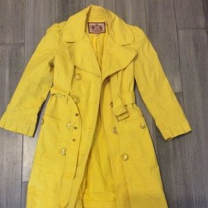 Juicy Couture yellow trench coat Jacket S